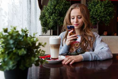 Girl Teen Smartphone Russian Coffee Shop