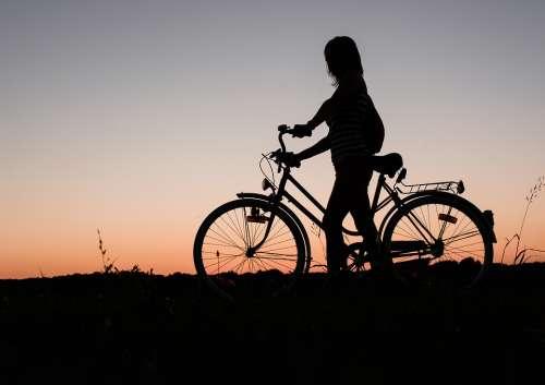 Girl Bicycle Bike Cycling Sunset Silhouette Woman