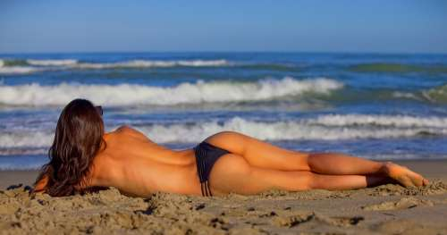 Girl Lying Sea Beach Person People Beauty Women