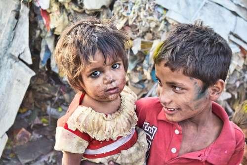 Girl Boy Brother Poor Slums India Child Happy
