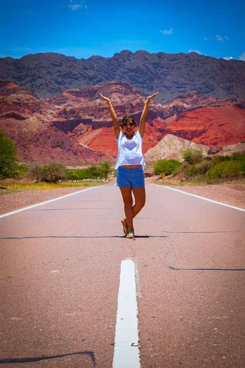 Girl Route Color Path Portrait Joy Beautiful