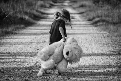 Girl Walking Teddy Bear Child Walk Female Young