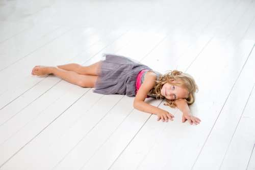 Girl Lying Relax Young White Happy Child People