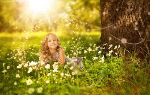Girl Cute Nature Happy Child Sunshine Beautiful