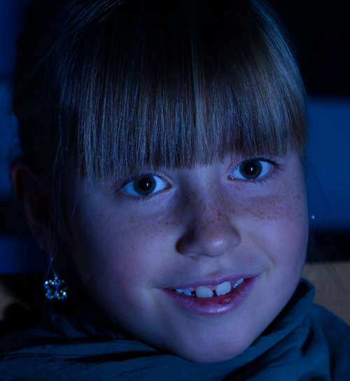 Girl Night Awake Child Face Blond Human Focused
