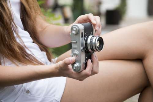 Girl Camera Photographs Retro Old Photo Picture