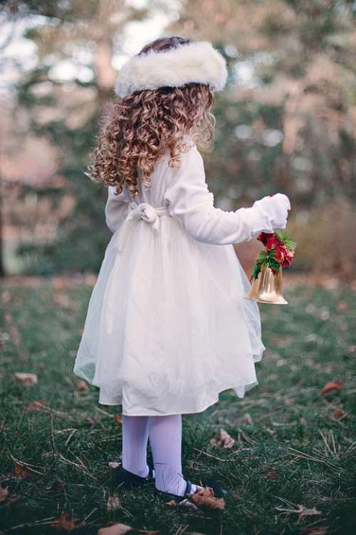 Girl Child Winter Bell Christmas Curls Young