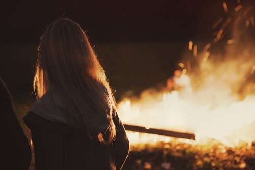 Girl Fire Blond Campfire Woman Young Flames