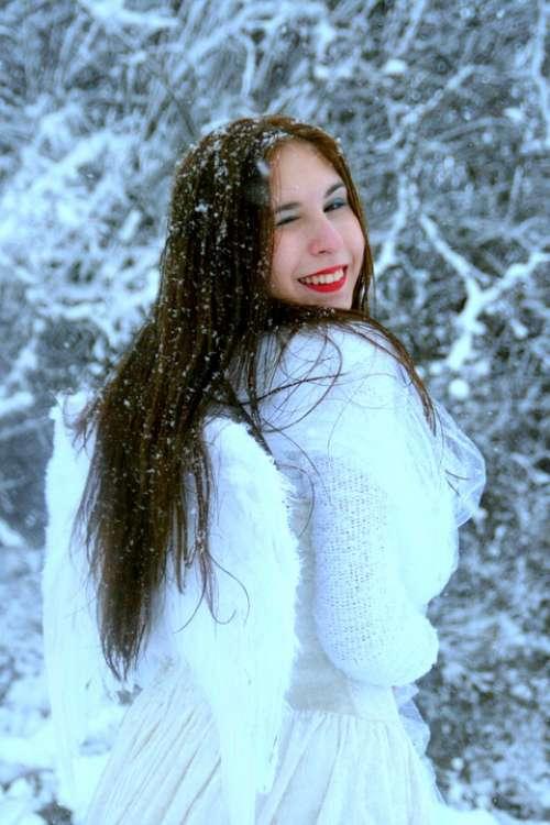 Girl Snow Angel Princess Story White Portrait