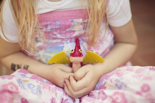 Girl Child Long Hair Toys Play Sit Dress