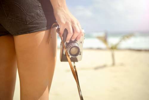 Girl Camera Vintage Hand Leg Skin Pants Retro