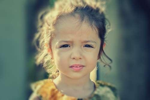Girl Worried Portrait Face Sad Child Kid