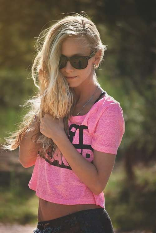 Girl Portrait Hair Standing Sunglasses Blonde