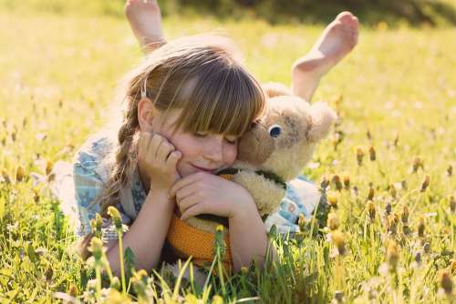 Girl Teddy Bear Snuggle Cute Kids Young Joy