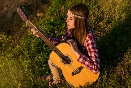 Girl Guitar Summer Melody Musical Music