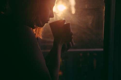 Girl Drinking Tea Coffee Cup Sunset Sad Woman
