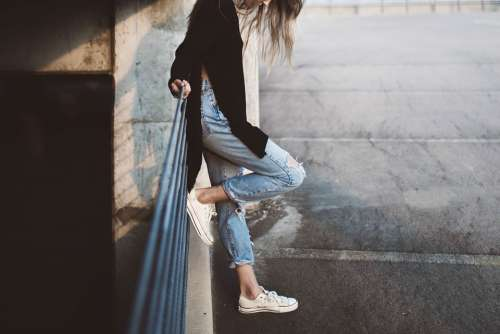 Girl Feet Jeans Fashion Female Young Woman
