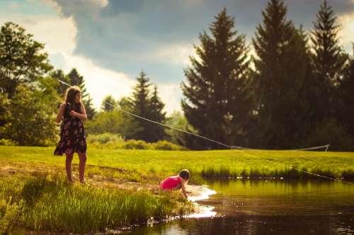 Girls Fishing Creek Recreation Fishing Rod Nature