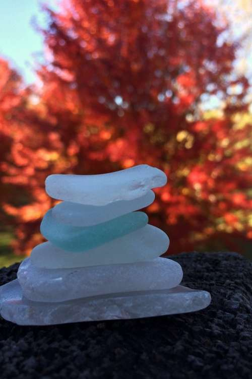 Glass Beach Stacked Relax Zen Cairn Fall Nature