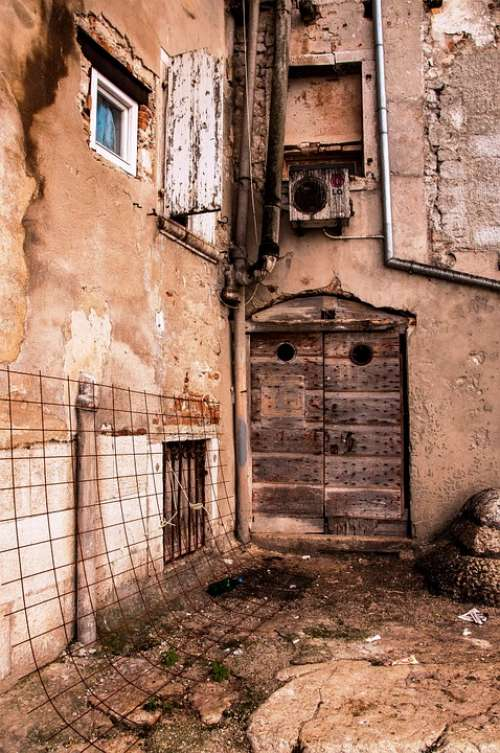 Glimpse Old Houses Door Old Town Houses Istria