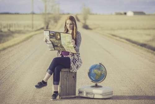 Globe Trotter Traveller Globe Map Journey Planning