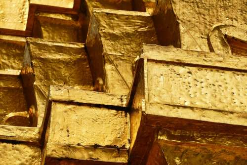 Gold Brick Yellow Wall Building Construction