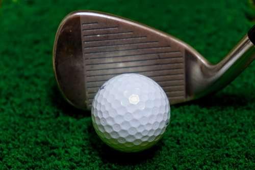 Golf Ball Club Iron Intact Just Meet Green