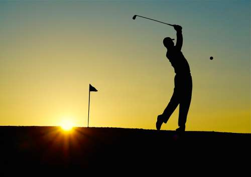Golf Sunset Sport Golfer Golf Clubs Einlochfahne