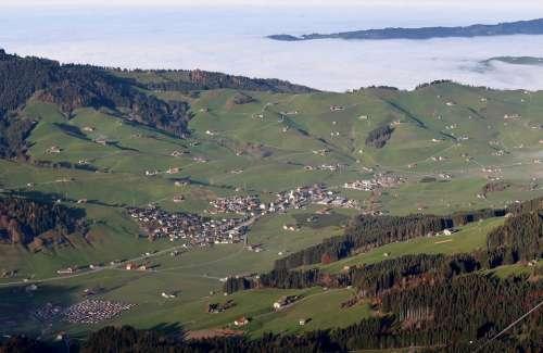 Gonten Alpine Appenzell Switzerland Panorama View