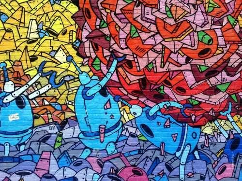 Graffiti Wall Mural Painting Arts Colorful Urban