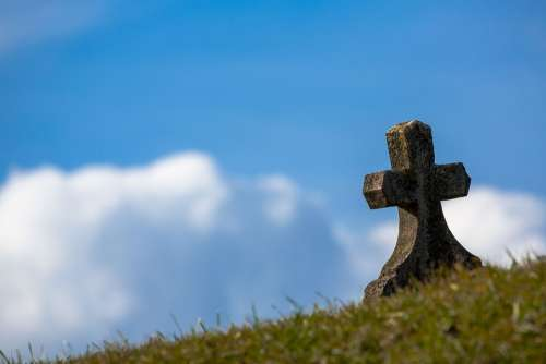 Grave Sky Cross Old Stone Heaven Christian