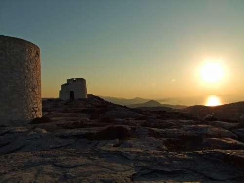 Greece Mills Ruins Tower Backlighting Old Amorgos