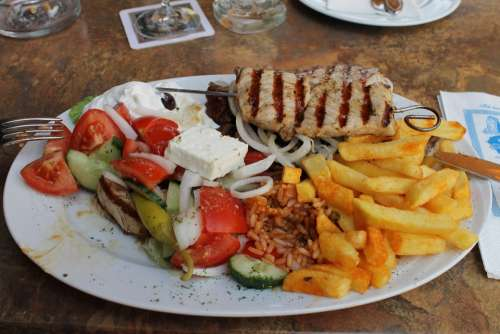 Greek Eat Plate Mixed Grill Meat Grilled French