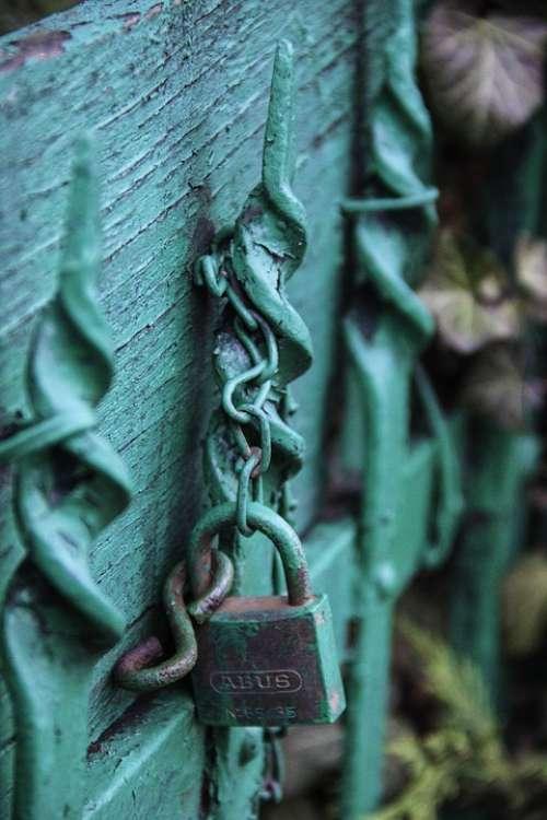 Green Bluish Lock Gate Detail Closed Blue Close