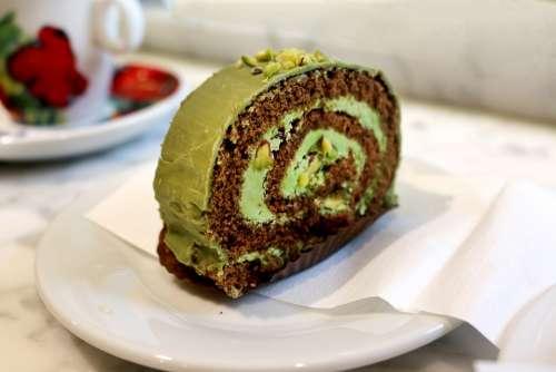 Green Tea Cake Cake Desert Pastry Bread Cafe Food