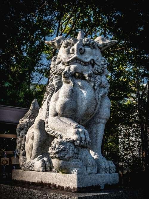 Guardian Dogs Stone Statues Shrine Japan Sculpture