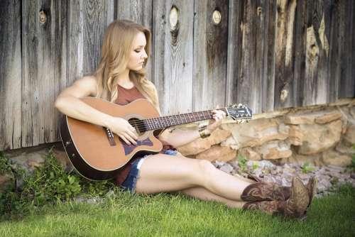Guitar Country Girl Music Guitarist Countryside