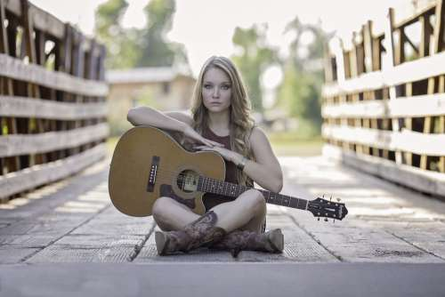Guitar Country Girl Acoustic Guitar Talent Woman