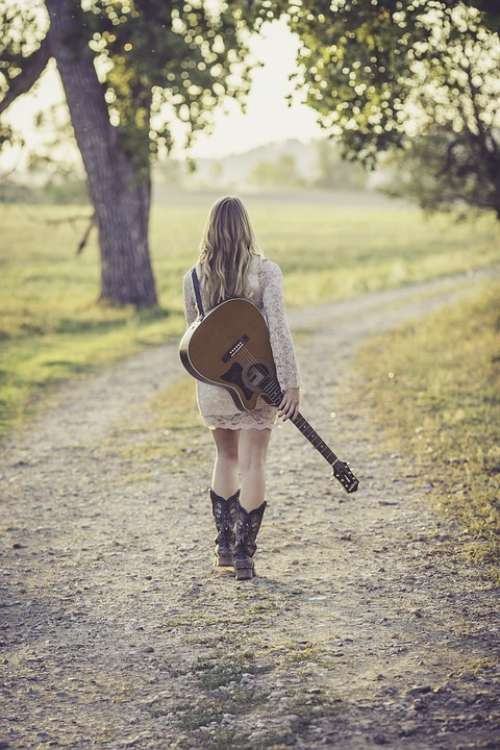 Guitar Country Road Young Female Musician Outdoor