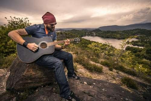 Guitarist Acoustic Guitar Man Boy Landscape Music