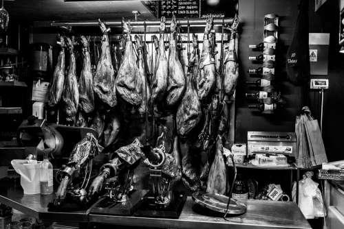 Ham Spain Food Mediteran Market Meat Market Stall