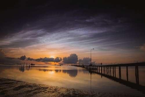 Ham Ninh Vietnam Jetty Sunrise Phu Quoc Morning