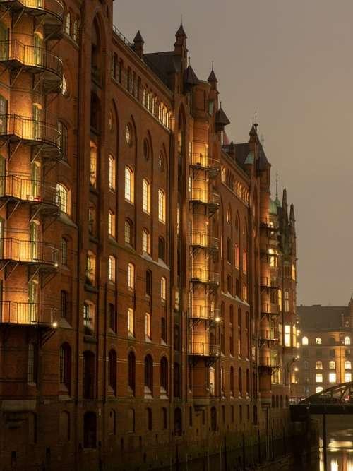 Hamburg Speicherstadt Evening Lighting Architecture