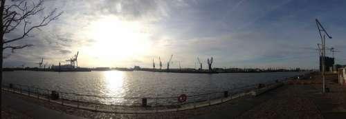 Hamburg Port Winter Germany Elbe Ship