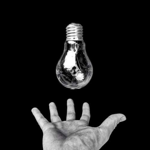 Hand Light Bulb Idea Energy Creative Design Light