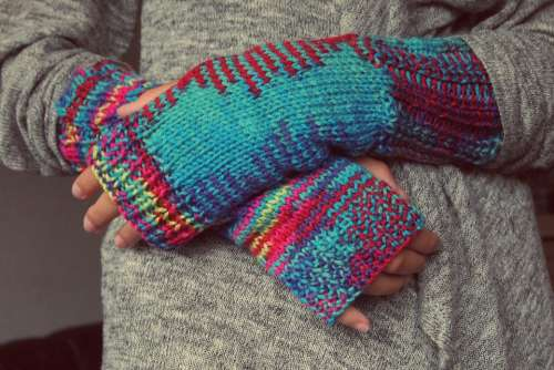 Hands Gloves Knitting Winter Fingers Mixed