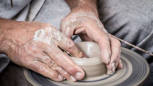 Hands Clay Potter Pottery Potter'S Wheel Dirty