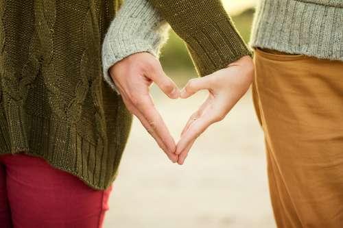 Hands Heart Couple Woman Man People Love Symbol