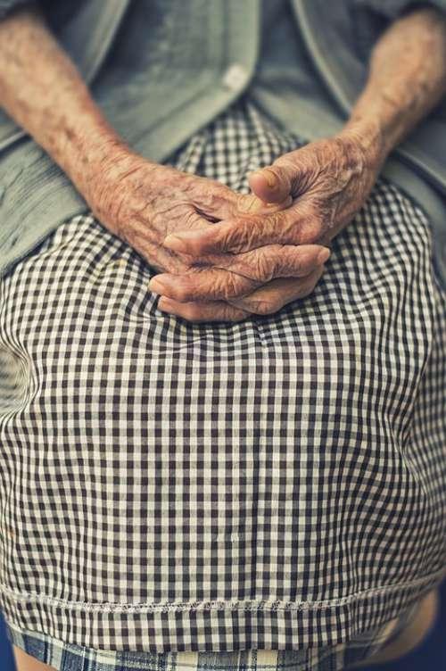 Hands Folded Woman Old Finger Resting Prayer