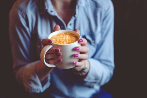 Hands Coffee Cup Mug Drink Cafe Latte Nails